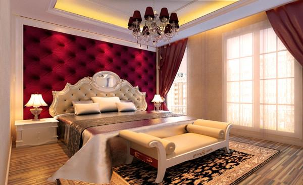卧室设计: 卧室在选材上多取舒适,柔性,温馨的材质组合,墙面红色软包设计起到一种浪漫的空间氛围,地面深色条纹地板具有很强的设计感,建立起一个暖意的家庭气氛。