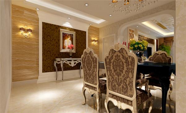 餐厅区域内的玄关墙采用石材等材料制作,使餐厅区域在具有优雅气质的同时,又把餐厅衬托出奢华的气质。