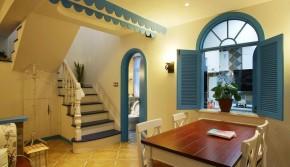 地中海 清新 收纳 三口之家 楼梯图片来自佰辰生活装饰在110平超强收纳功能地中海清新居的分享