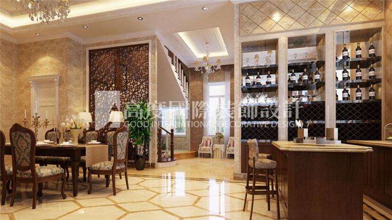 餐厅图片来自北京高度国际装饰设计在河北玉田别墅360平新古典风格的分享