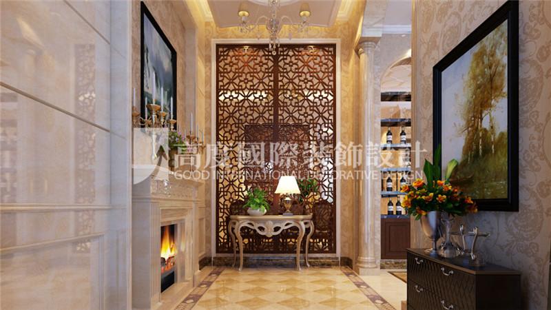 玄关图片来自北京高度国际装饰设计在河北玉田别墅360平新古典风格的分享