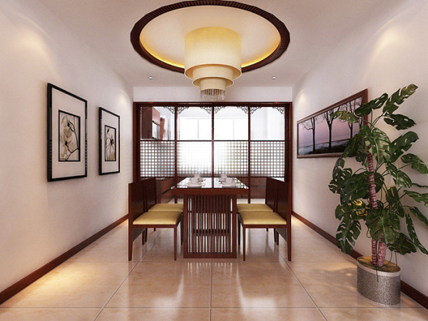 在吊顶的设计以简单为主,在吊顶的装饰上跟家具整体搭配,带有中式元素的实木隔断与整个实木家具相辅相成。