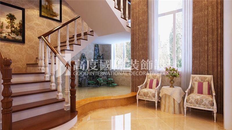 楼梯图片来自北京高度国际装饰设计在河北玉田别墅360平新古典风格的分享