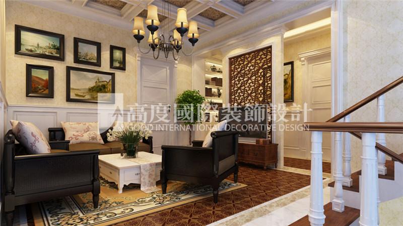 客厅图片来自北京高度国际装饰设计在河北玉田别墅360平新古典风格的分享