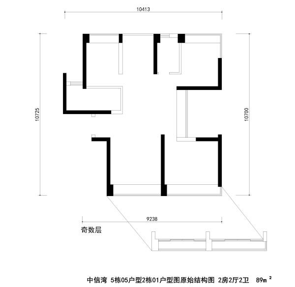 中信湾 5栋05户型2栋01户型图原始结构图 2房2厅2卫  89m²