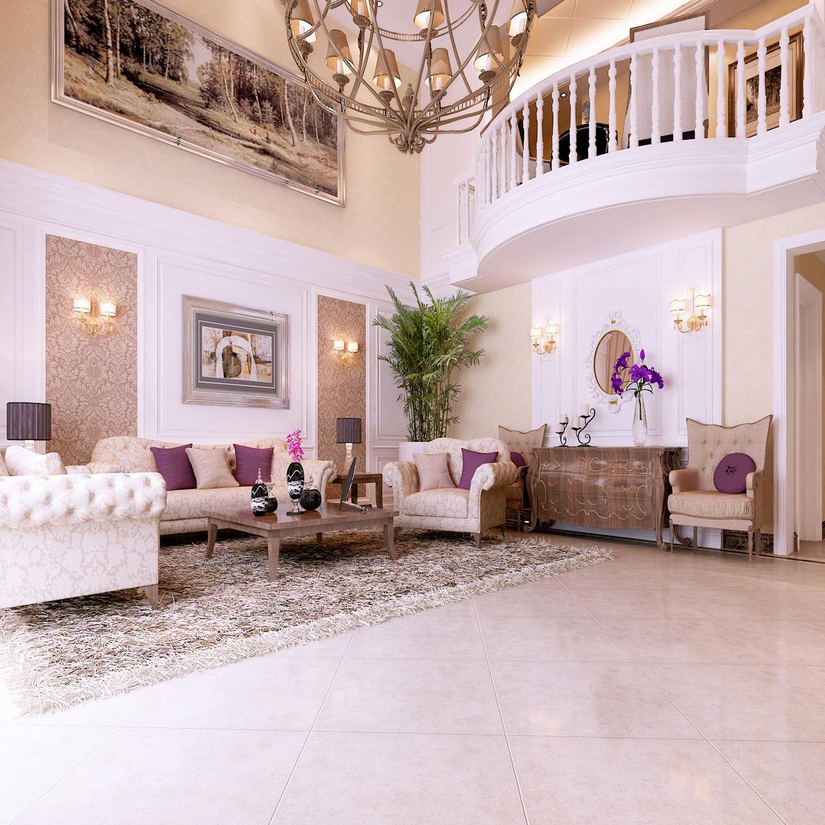 客厅图片来自山水人家装饰在曲江公馆典雅欧式别墅的分享