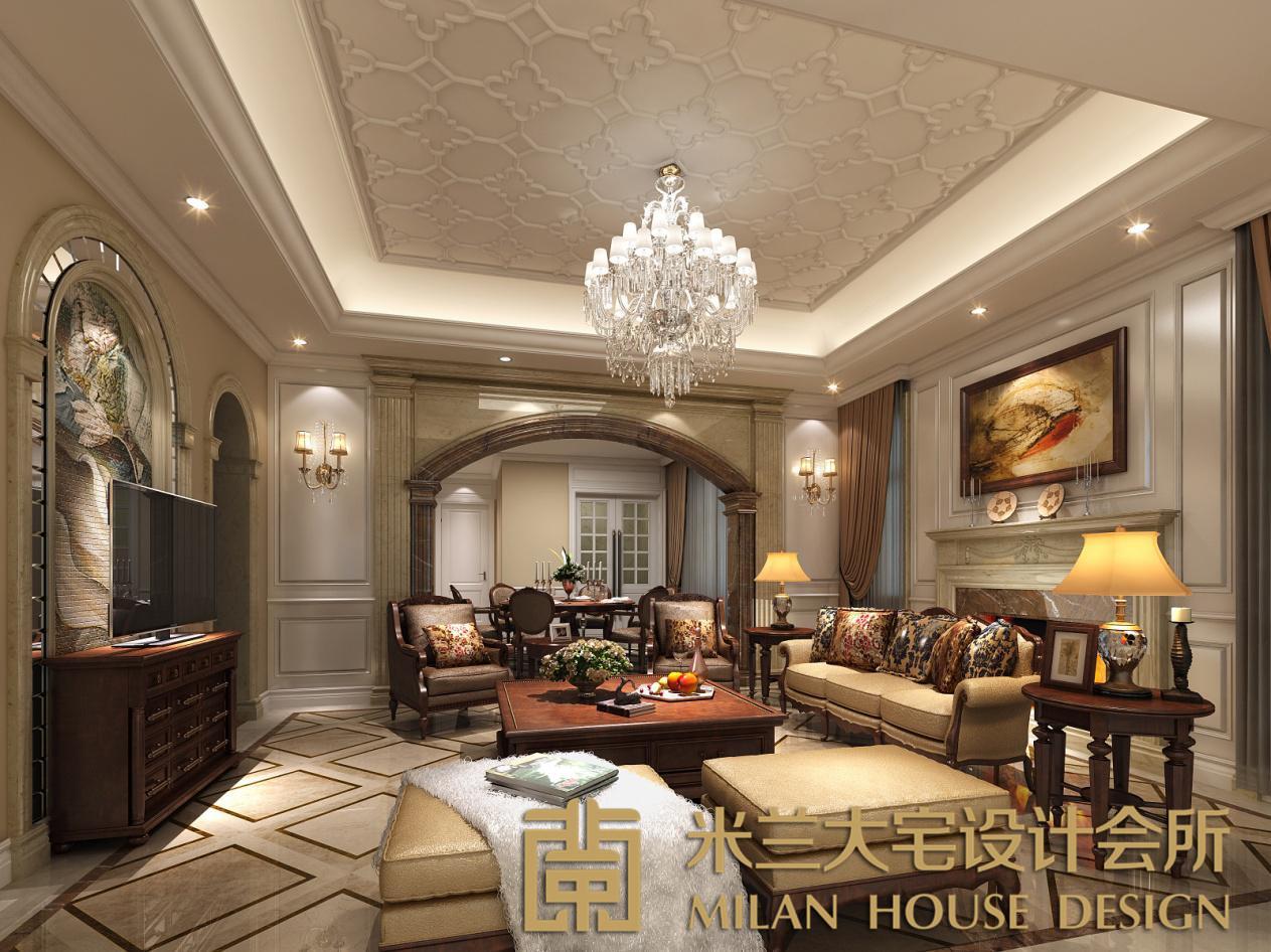客厅图片来自米兰大宅设计会所在爵士名邸—欧式混搭的分享