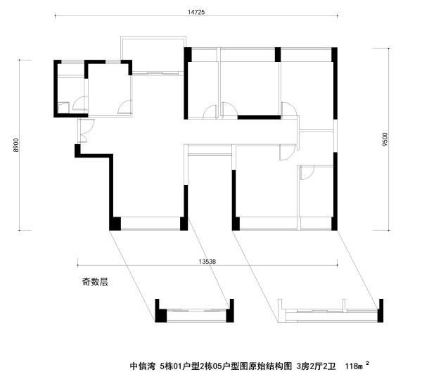中信湾 5栋01户型2栋05户型图原始结构图 3房2厅2卫  118m²