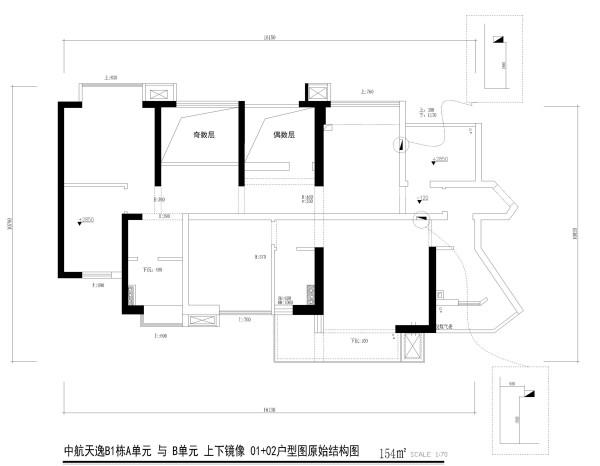 中航天逸B1栋A单元 与 B单元 上下镜像 01+02户型图原始结构图5房2厅2卫