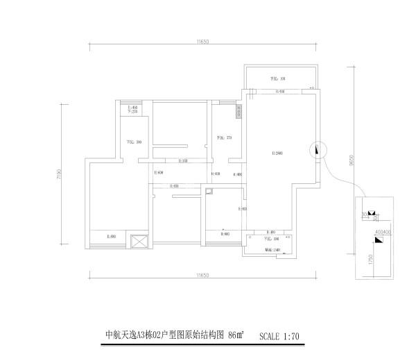 中航天逸A3栋02户型图原始结构图3房2厅2卫