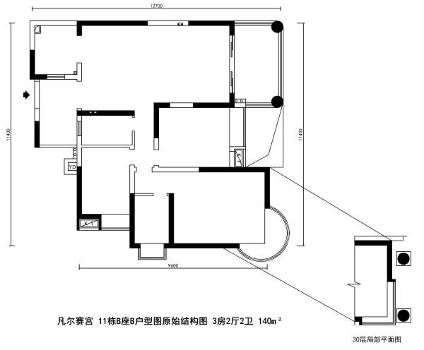 凡尔赛宫 11栋B座B户型图原始结构图 3房2厅2卫 140m²