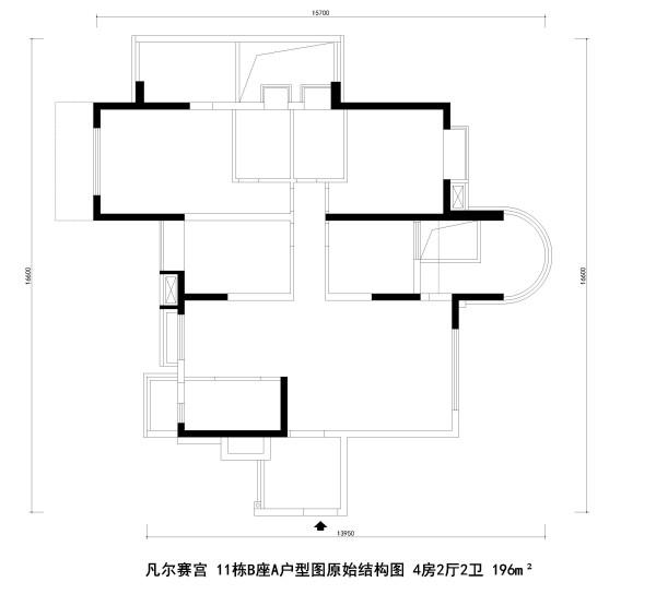 凡尔赛宫 11栋B座A户型图原始结构图 4房2厅2卫 196m²