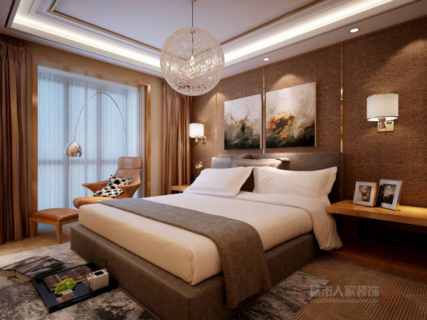 色调为暖色系,落地窗与工艺吊灯、装饰画等使之空间更有情调、浪漫。