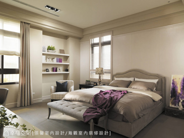 不刻意强调卧房的主次分别,主要用颜色及材质呈现出每间卧室的表情。
