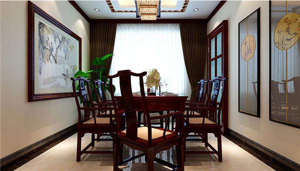 红木的餐桌椅,配上精致的灯饰,使整个空间硬朗而又华丽、优雅。餐厅的装修又是木质,大气经典。墙面的壁画与吊灯都显示出一种富丽堂皇的感觉。