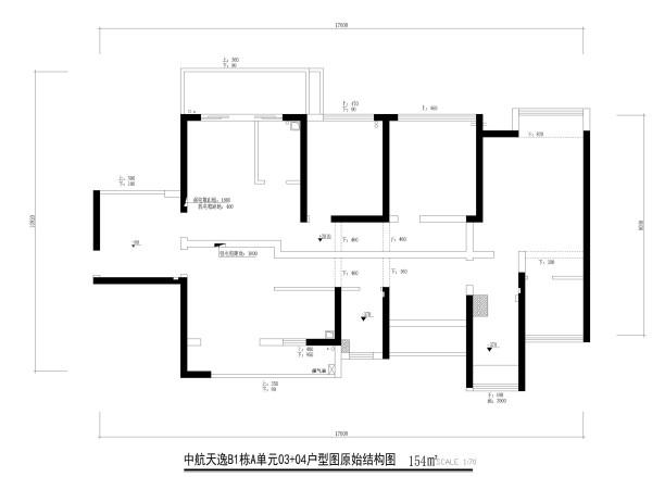 中航天逸B1栋A单元03+04户型图原始结构图4房2厅2卫