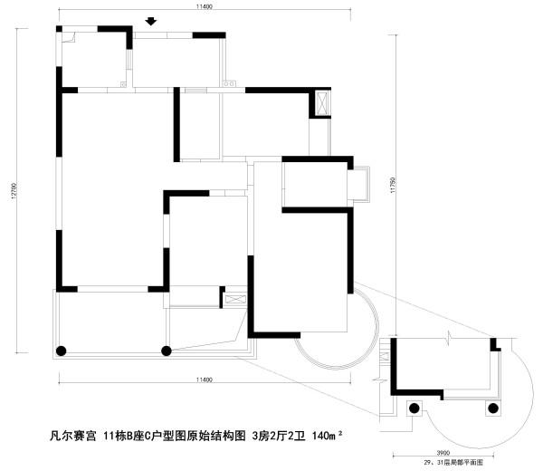 凡尔赛宫 11栋B座C户型图原始结构图 3房2厅2卫 140m²