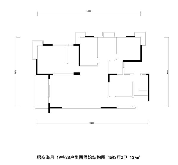 招商海月 19栋2B户型图原始结构图 4房2厅2卫 137m²