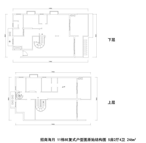 招商海月 11栋8E复式户型图原始结构图 5房2厅4卫 246m²