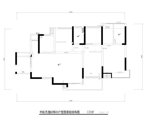 中航天逸B2栋02户型图原始结构图4房2厅2卫