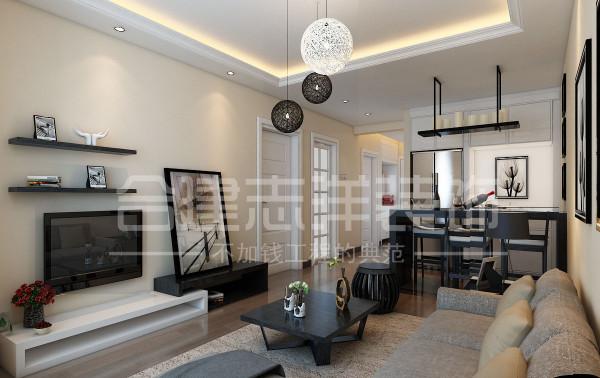 结白明亮的视线使空间得以延伸,装饰画以及吊灯做的非常的细致。