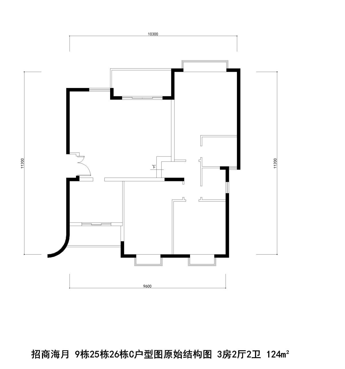 招商海月 9栋25栋26栋C户型图原始结构图 3房2厅2卫 124m²