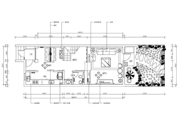 尚东庭210平米户型 首层平面布置图