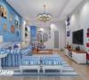 客厅电视背景墙以大海作为背景,以灯塔点缀,激涌的浪花使整个空间变得活跃起来!沙发背景墙采用木板刷上蔚蓝色涂料,仿佛海边沙滩上的栅栏!使人身心彻底放松~