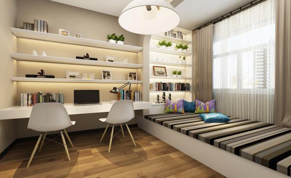 整体采用淡灰色作为整个房间的主色调,使整个卧室显得明朗温馨。淡灰色的整体色调配上白色的家具,给人一种舒服自然地感觉。书房靠窗的地方做榻榻米,是整个空间休闲放松的部分。