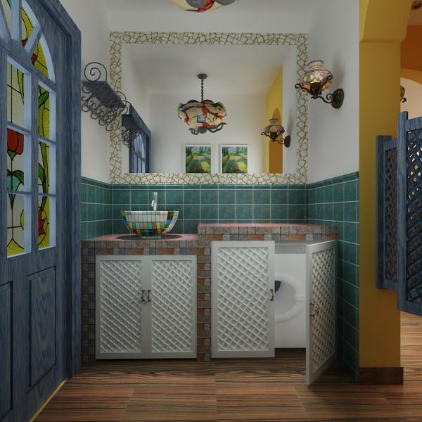 主题蓝色和白的搭配的卫生间是非常唯美的