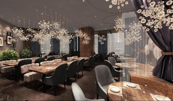 三层:如樱花般的的花式吊灯,使整个空间看起来浪漫又温馨。灯光渲染在木质餐桌上,暖意融融。