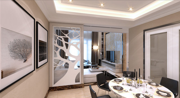 一般家庭的餐厅空间并不大,通常采用开放式的格局,不但可使用餐区看起来更宽敞,还可以丰富室内的景观。本案中的餐厅去繁就简,用墙上的壁画与地板的变化的方法加以界定,再配合暖黄色的灯光,