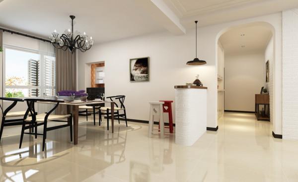 餐厅采用简单的平顶,简约而美观。宜家风格的餐桌与吧台很好的搭配在一起。吧台上面的吊灯是整个空间的亮点设计,不仅增加了局部光源,并且节约了空间。