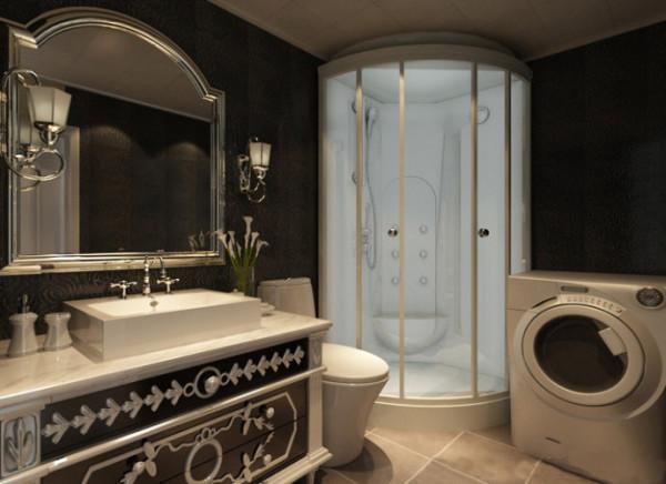 卫生间装修效果图,欧式大气洗手台,橱柜,精美欧式壁纸,洗衣机的位置可以自行条换