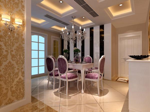 餐厅背景设计: 餐厅采用了地砖拼花,奠定了餐厅的基调!餐厅与客厅之间的金色镶边拱门结构,不仅提升了整个就餐环境的奢华感,更增强了空间互动性。欧式造型吊灯呼应了吊顶,使整个空间更加丰满。