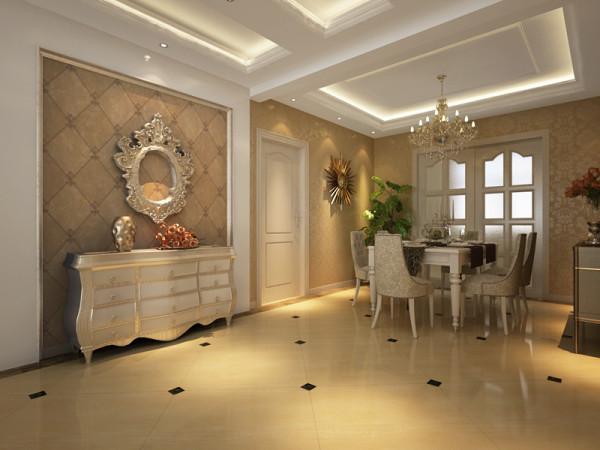 这是餐厅的一角,墙壁铺以欧式壁纸,旁边放一餐边柜,地砖加以小块深色砖装饰,放上一欧式餐桌,干净明亮,层次鲜明,再配以大盆盆栽植物,自然气息顿现。