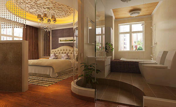 主卧室、衣帽间及主卫生间空间的融合,使整个房间具有大气清透,线条恣意、简洁,床头背景墙肌理质感华贵幽闲,视觉冲击力强烈。简约贵丽的感觉,让爱家的女主人一家倍感优雅和体味用餐的美好心情!