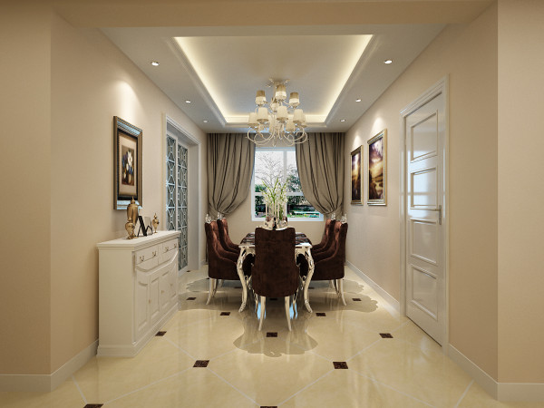 设计理念:打造高雅的用餐环境,使用餐成为舒适优雅的事。看似没有亮点,实则在米黄色墙纸的映射下再加以完美的典线,精益求精的细节处理.带给家人不尽的舒服触感。