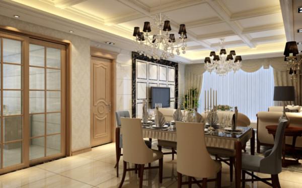 在满足功能的同时也充分发挥了空间的独特性。餐桌上设计独特的餐具再加上餐桌上方的奢华吊灯,使整个简单的空间流露出奢华的气质。餐厅和客厅里的玻璃镜使整个空间在视觉上变得更加宽敞