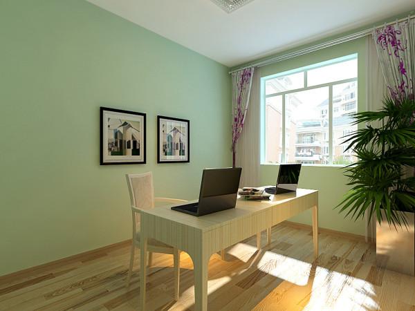 以浅绿色为主,让人工作阅读时有一个明亮舒适的心情。对整个书房的简单装饰,以简约为主。