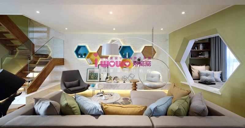 loft 现代简约 客厅 客厅图片来自爱窝窝精致家装机构在精致六边形的分享