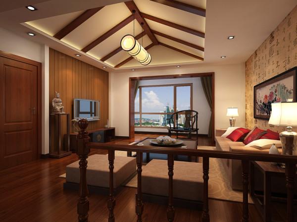 二楼客厅原建筑结构为斜顶,室内设计过程中造型利用原建筑结构,吊顶做斜顶装饰,用实木梁的装饰线条丰富空间,拉伸整体高度,让整个空间看起来大气、明亮,提升空间档次。