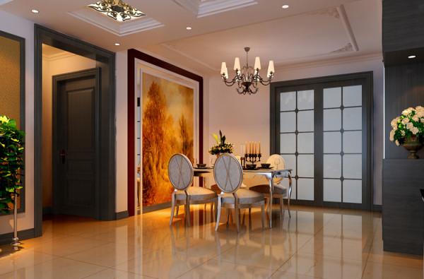 金科廊桥水岸121平米四居室户型餐厅效果图展示