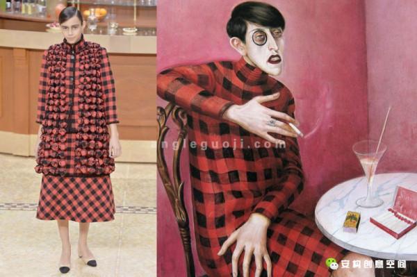 Chanel VS. Otto Dix《记者西尔维娅冯哈德肖像》 Chanel用花呢布缝制的红黑格子与Otto Dix画作中的女记者十分相像,连两者的发型都如出一辙。