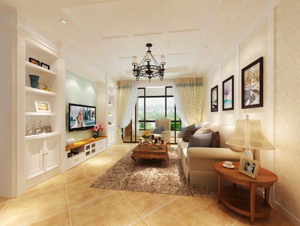 客厅:客厅宽敞明亮,整体色系偏淡,舒适的沙发配以柔软的地毯,让人感觉无比温馨舒适。电视墙两侧的柜子设计则增加了储藏空间。
