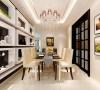 白色方格装饰背景墙,美观有个性,且收纳功能强大;精致的水晶吊灯,米色餐椅与玻璃餐桌,使餐厅显得干净大气上档次。
