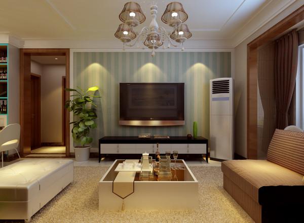 电视墙的设计主要考虑了造价上的问题。利用了白色边框把电视墙区域划分出来,然后运用竖纹的墙纸,使整个空间有了动感,颜色选用清新的淡蓝色,作为对现在日渐灰暗的天空的补偿吧。