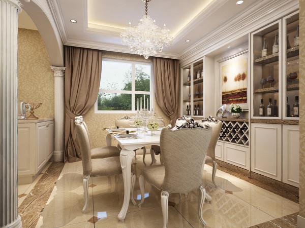设计理念:精致的吊灯与罗马柱的搭配,使空间更突显欧式的典雅与奢华,以白色为主的酒柜给餐厅给更添一种欧式韵味,流畅的线条烘托出一副温馨的画面,高贵且不失舒适感。