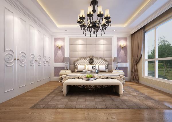 素色花纹壁纸让居室干净温馨,浅色的欧式大床与吊灯、壁纸相对应显现出了卧室的温馨与浪漫,床头两边的灯具不仅用于烘托居室氛围,更多的是展示品及使用性。整体气氛和谐舒适。
