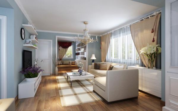 客厅是整个空间的核心,不用华丽的装饰,制造出蕴涵于朴素中的那份精致情怀。淡蓝色墙面、木色的茶几小桌、神态端庄的奶白色沙发,没有一丝出格气息。